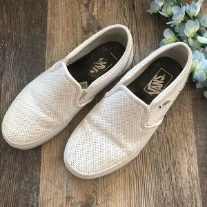 Vans | White Perforated Slip On Shoes